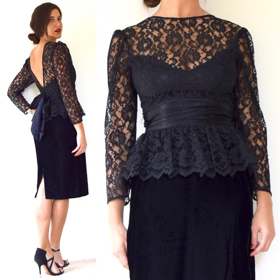 SUMMER SALE/ 30% off Vintage 80s 90s Black Velvet Lace Bodice Peplum Pencil Dress (size small)