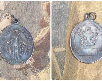 Vintage Antique old French 1930/30s tin medal  Congregation des enfants de Marie  / religious/ christianity