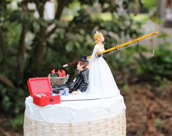 Fishing Wedding Cake Topper, Grooms Hunting Cake Topper, Rustic Outdoors Lovers, Bride and Groom Cake Topper