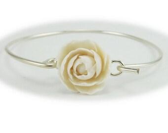 Peony Bracelet Sterling Silver Bangle - Peony Jewelry