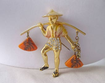 Vintage Chinese Water Carrier Brooch, Asian Man Water Carrier Pin, Rice Weiner Variation