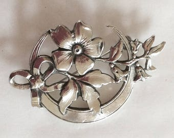 Jasmine and crescent moon brooch / pin Art nouveau style silver plated vintage new