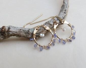 Tanzanite Earrings Gold Dangle Earrings Wire Wrapped Gemstone Dangles December Birthstone Bridal Earrings  Bridesmaids Jewelry