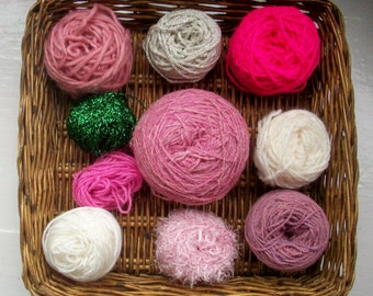 DESTASH- big grab bag assorted yarn 154g /5.4 ounces Christmas pinks, silver, green