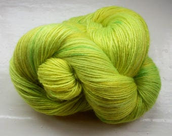 Hand painted yarn 100g. angora laceweight lemony green