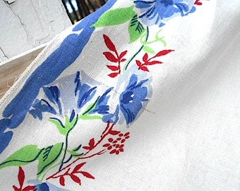 Vtg floral linen toweling towel fabric yardage, runner, 4 yds - Morning glory, pure flax linen