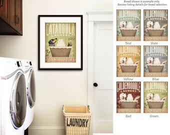 Catahoula Leopard dog laundry basket laundry room art unframed artwork by Stephen Fowler Signed Print