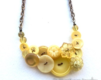 Button Necklace Shades of Yellow Vintage Button Necklace with Flowers