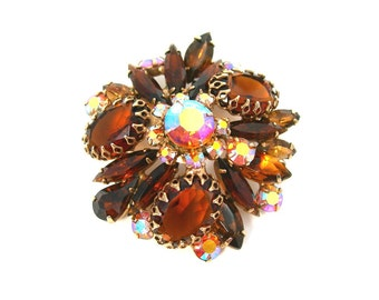 Amber Rhinestones Brooch, Chunky, Domed, Rich Autumn Colors, Dog Tooth Prongs, Open Back Stones, Vintage 1950-60s Jewelry, Gift for Her