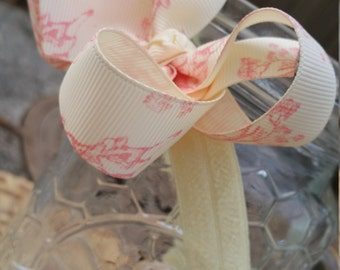 Blush Pink Girls Headband - Baby Girl Headband - Baby Girl Hair Accessory - Soft Baby Headband - Ivory Bow for Flower Girl - Toile Headpiece