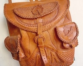 Hippie Chic... Vintage 1970's Hand Tooled Leather Hippie Bohemian Leather Backpack Back Pack Rucksack Ruck Sack Tote Purse Bag Boho Chic