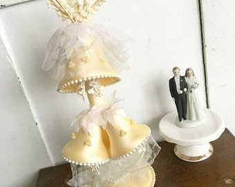 For Better or Worse... Vintage Satin Wedding Bells Lilly of The Valley Millinery Wedding Anniversary Cake Topper 1965