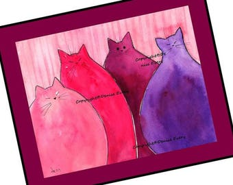 Cat Art Print Abstract Very Berry Cherry Strawberry Pink and Raspberry Purple Chubby Kitties ACEO Cat Print Cat Lover Cat Gift Denise Every
