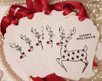Reindeer Tags, Black and White, Happy Holiday, Set of 5, Sale Tags, Rudolph Tags, Kids Gift Ideas, UK christmas, Christmas Wedding