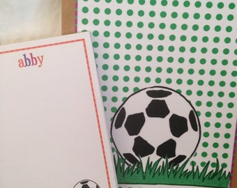 Soccer Ball Soccer Player Themed Personalized Notepad and Clipboard Set