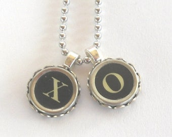 SALE Typewriter Key Necklace Custom Order  Letters P and J