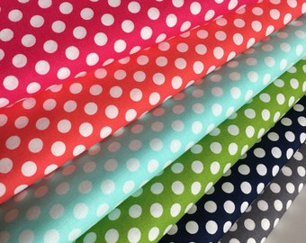 Best Seller, Rainbow Polka Dot Fabric, Cotton Fabric by the Yard, Robert Kaufman Spot On Fabric Bundle of 6, Choose your Cuts, Filler Fabric