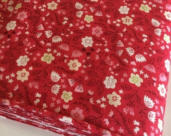 Woodland Nursery fabric, Modern Baby Quilt fabric, Girl Woodland Quilt fabric, Walk in the Woods, Toss the Garden in Red, Choose the cut