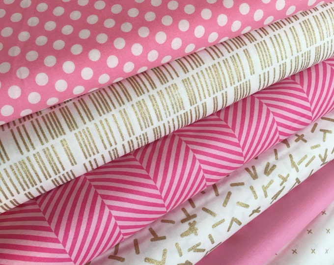 Pink and Gold Fabric Bundle, Pink Gold Nursery,  Pink and Gold Party, Quilt fabric, Bundle of 6- You Choose the Cut, Free Shipping Available