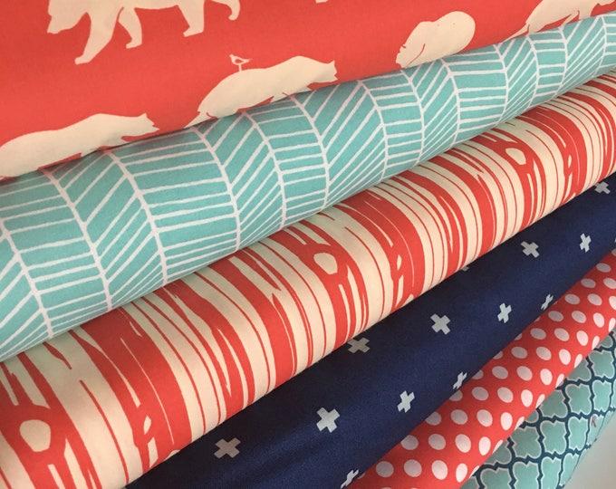 Coral Aqua Fabric Bundle, Fat quarter bundle, Woodland fabric, Bear, Woodgrain fabric, Herringbone fabric, Tribal fabric, Bundle of 6