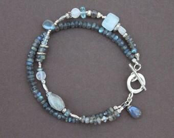 Labradorite Aquamarine Moonstone Hill Tribe Thai Silver Double Strand Bracelet Handcrafted Sundance Style