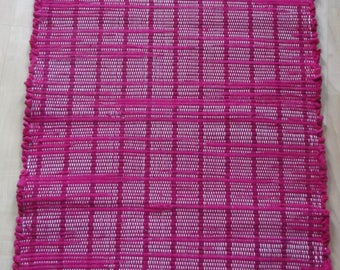 "Bright Deep Rose Woven Rag Rug Hand Loomed 31"" X 21"" New USA Made Machine Washable"