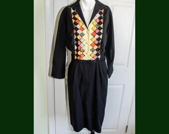 Vintage Rockabilly 50's Black Cotton Shirtwaist Dress with Applique Domino Print