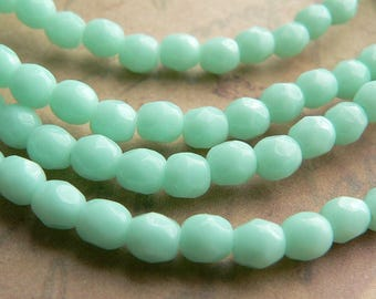 Mint Green Czech Glass Beads Round Pale Jade Fire Polished 4mm (50)