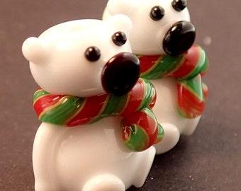 Polar Bears with Christmas Scarves