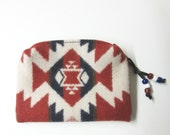Wool Zippered Pouch Coin Purse Change Purse Accessory Organizer Cosmetics Clutch Bag Native American Print from Pendleton Oregon