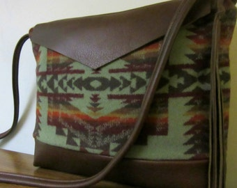 Wool Cross Body Bag Purse Shoulder Bag Soft Brown Leather Native American Print Southwest Style
