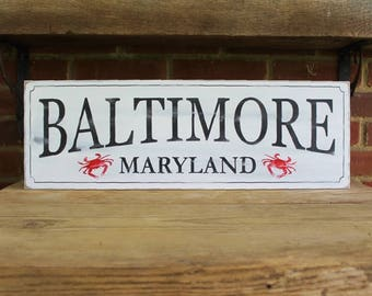 Baltimore, Maryland Wood Sign Hand Painted Rustic Crabs 8x24 inches Hometown Housewarming