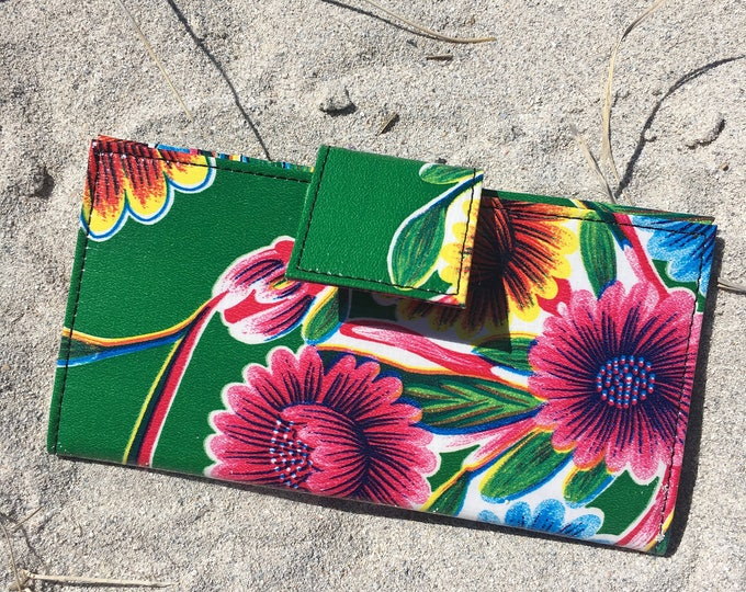 Featured listing image: Oil Cloth Green Floral Billfold Wallet,  Women's Floral Vinyl Checkbook Clutch Wallet