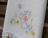 Spring Sale Tea Towel | Vintage Linen | Vintage Embroidery | Gray Kitty | Kitchen Towel | Dish Towel | Gift for Grandma | Mother's Day Gift
