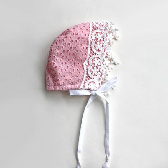 Pink Lace Eyelet Bonnet, Toddler and Baby