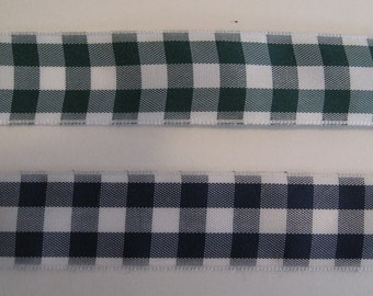 Bold Gingham Check Ribbon, forest green and white or navy and white - 7/8 inch wide - 20 yards
