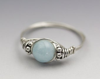 Light Blue Aquamarine Bali Sterling Silver Wire Wrapped Bead Ring - Made to Order, Ships Fast!