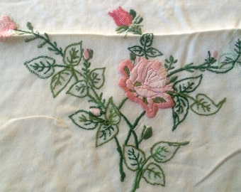 Vintage Hand Embroidered Roses, Linen Hemmed Cloth
