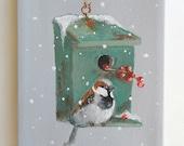 bird house painting original still life Sparrow in winter art