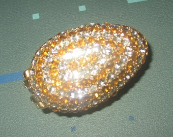 Vintage Showy Clear and Orange Rhinestone Egg Pill Case