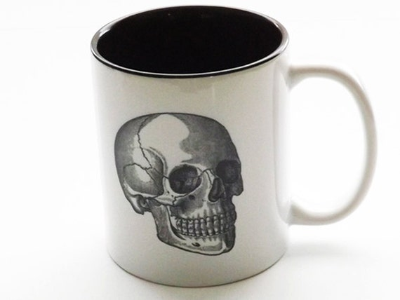 Skull coffee MUG cup medical anatomy gift for him her Father's Day doctor nurse practitioner physician assistant home decor tea male gothic