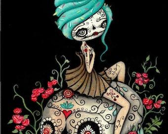 Sugar Skull Cupcake Print Cute Dead Cupcake skull Wall Art  8 x 10