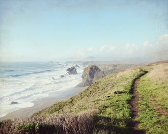 Beach ocean photography print, rustic hiking trail California landscape waves wall art  - Walk Along the Sea
