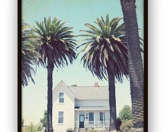 "Farmhouse photograph palm trees california white country house rustic wall art ""California Farmhouse"""