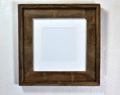 Brown reclaimed wood picture frame 8x8 with white mat for 5x5 or 6x6