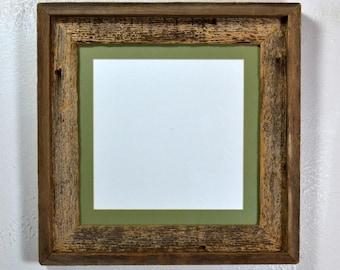 8x8 mat in 10x10 rustic reclaimed wood frame