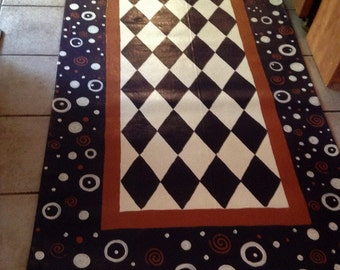 """Deep Space FLOORCLOTH Runner / Hand Painted Canvas Rug / Whimsical / Black and White Checked / METALIC COPPER / 30"""" x 72"""""""