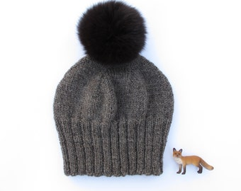 Fluffy Black Genuine Fox Fur Fox Fur Pom Pom Hat. 100% Organic Wool Knit Hat. Slouchy Pom Pom Hat.