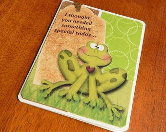 Handmade Thinking of You Card: frog, humor, green, greeting card, card, friend, family, complete card, handmade, balsampondsdesign