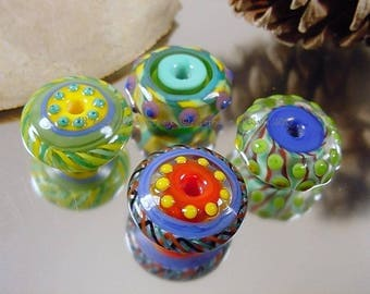 Handmade lampwork glass bead set, Artisan glass beads, yellow beads, blue beads, green beads, red beads, disc beads, SRA lampwork beads